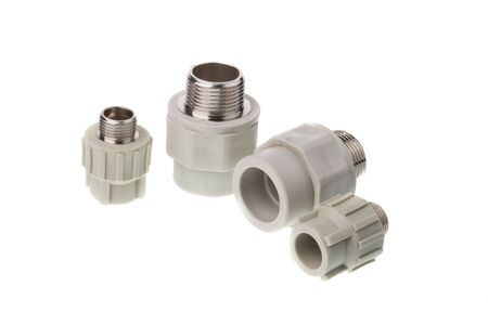 Set of different plastic PPR straight metal male thread fitting for water pipes, isolated on white background