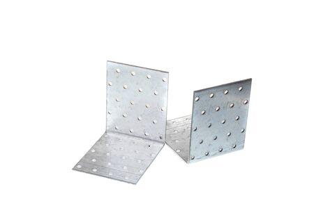 Set of big metal 90 degree angle fixating bracket, isolated on white background Reklamní fotografie