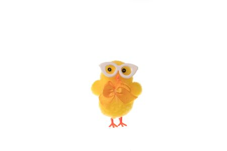 Decorative small easter chicken with glasses, isolated on white background.
