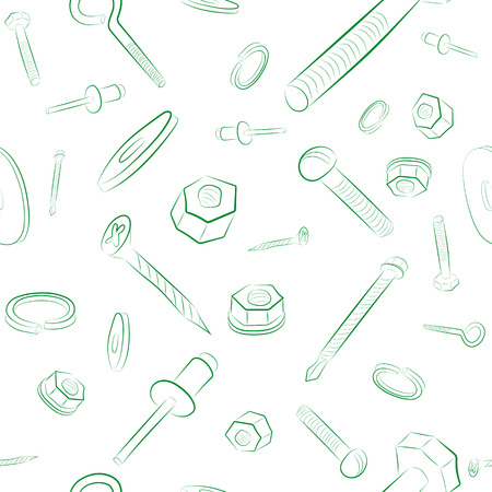 hand drawn seamless pattern with bolt, nut, washer, screw.