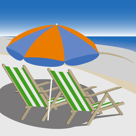 deck chairs: Two deck chairs on the beach illustration