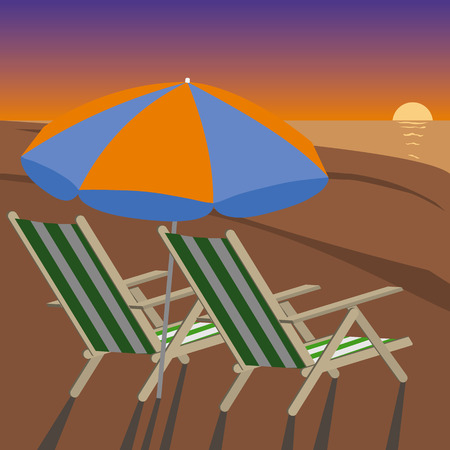 beach sunset: Two deck chairs on the beach. Sunset illustration