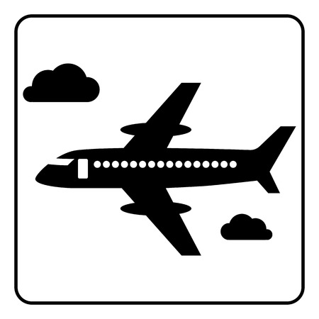 airliner: airliner travel black and white icon