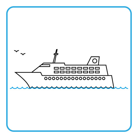 cruise liner: cruise liner travel icon. Thin line style