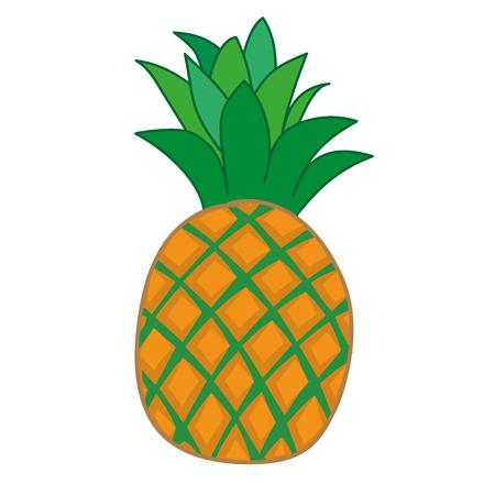 haulm: Pineapple isolated on white. illustration. Illustration