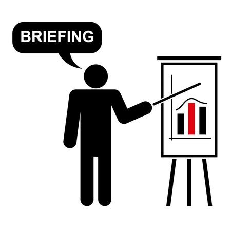 briefing: Speaker Presentation Speech Stick Figure Pictogram Icon Illustration