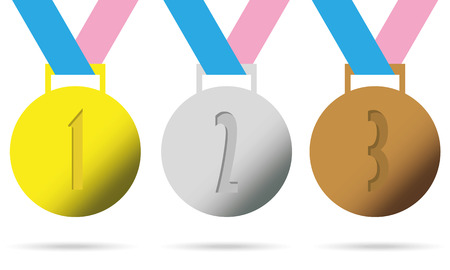 Gold, silver and bronze medals with ribbons and digits.