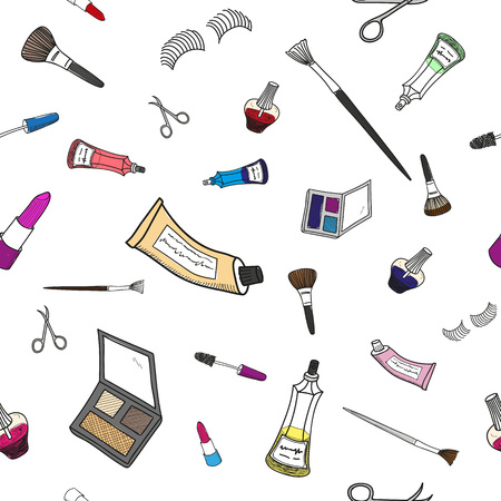 Seamless color doodle pattern of different make-up tools in Thin line style.
