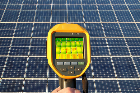 Thermal imager is used to inspect a solar roof