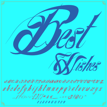 Hand drawn typeface set named best wishes Brush painted characters  lowercase and uppercase  Handwritten script font Typography alphabet for your designs Illustration