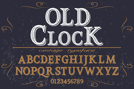 Font script typeface handcrafted vector old clock.