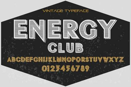 vintage font alphabet handcrafted vector named energy club