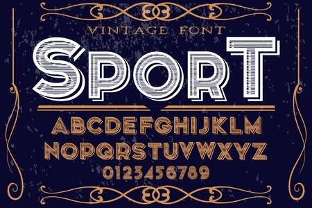 Vintage font alphabet handcrafted vector named sport.