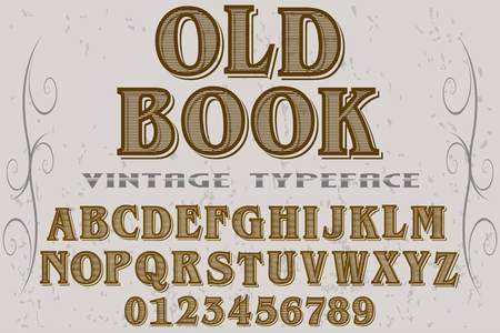 Vintage font alphabet handcrafted vector old book.