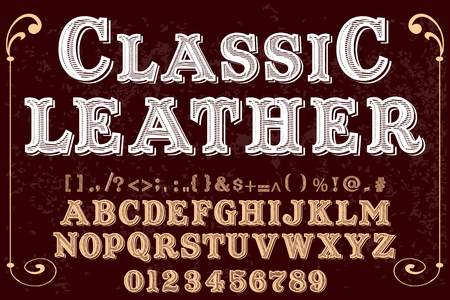 Vintage font handcrafted vector named classic leather.