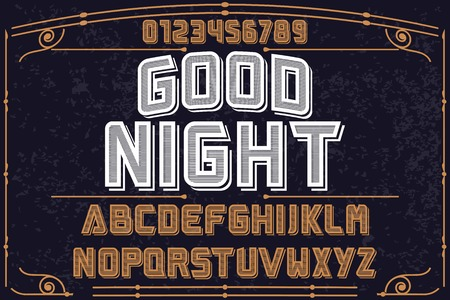 Vintage font handcrafted vector named good night.