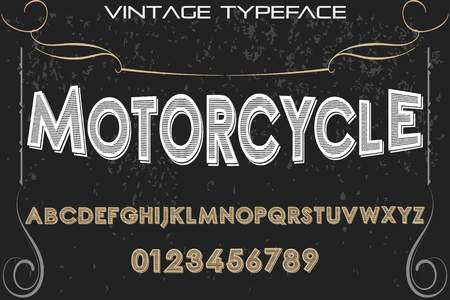 A vintage font typeface handcrafted vector named motorcycle