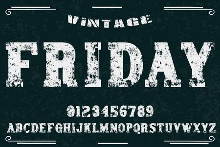 vintage font alphabet old style vector named friday