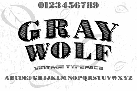 vintage font alphabet old style vector named gray wolf
