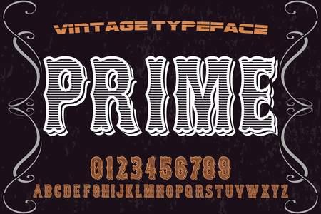 vintage font alphabet old style vector named prime