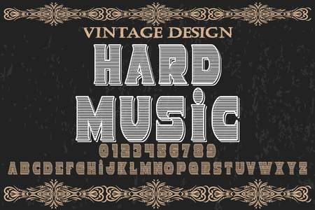 Font alphabet handcrafted vector named hard music