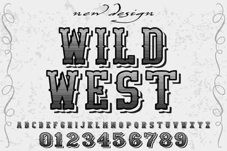 Font script typeface vector named wild west Ilustração