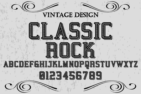 Vintage Font handcrafted vector named classic rock