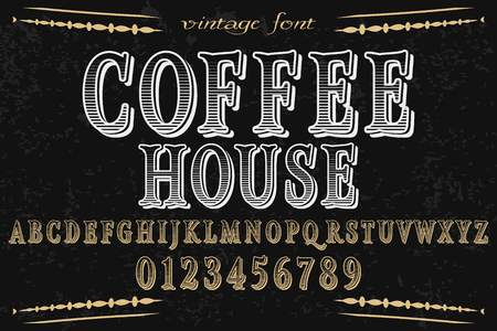 vintage font  handcrafted vector named coffee house and label  design