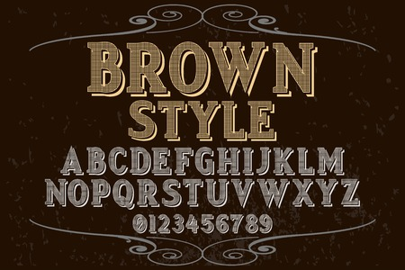 Vintage font handcrafted vector named brown style