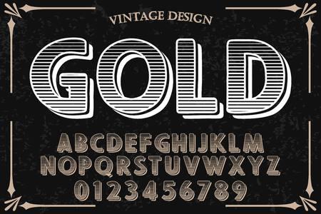 Vintage font handcrafted vector named gold Illusztráció