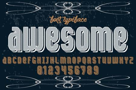 Vintage font alphabet handcrafted vector named - awesome
