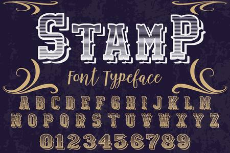 Font alphabet Script Typeface handcrafted handwritten vector label design named stamp