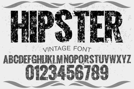 Vintage font typeface handcrafted vector named hipster and label design
