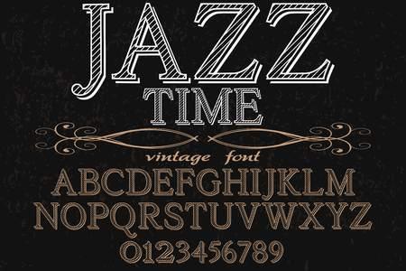 vintage font typeface handcrafted vector named jazz time Illustration