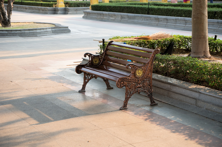 bench in Temple of The Wat ,Thailand photo
