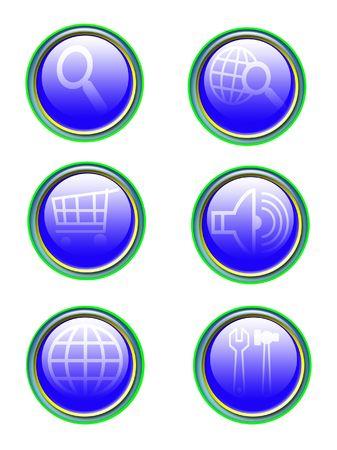 blue refflection icon set isolated on white Stock Photo - 4422119