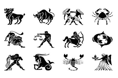 capricornio: signos del Zodiaco aislados en blanco
