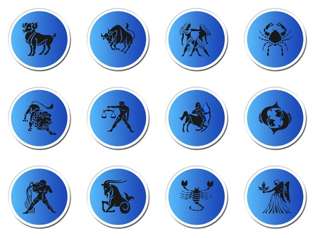 zodiac signs: zodiac signs isolated on white Stock Photo