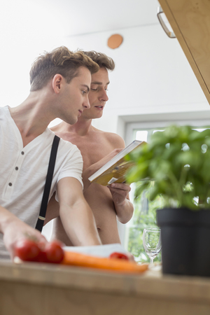 pointing herbs: Homosexual couple cooking food in kitchen