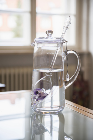 without windows: Water with gemstones in pitcher in kitchen LANG_EVOIMAGES