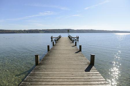 View of boardwalk at Starnberg Lake, Bavaria, Germany