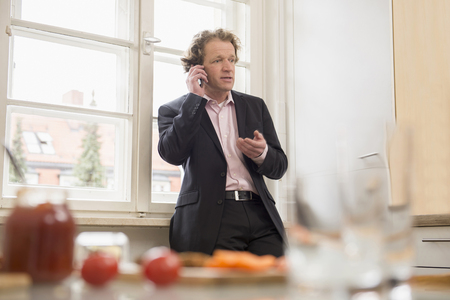 overstress: Man in suit on the phone at home LANG_EVOIMAGES