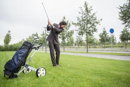 Businessman golf Practising Decision Determination