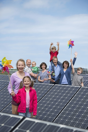 casual clothing 12 year old: Large family solar panel electricity happy