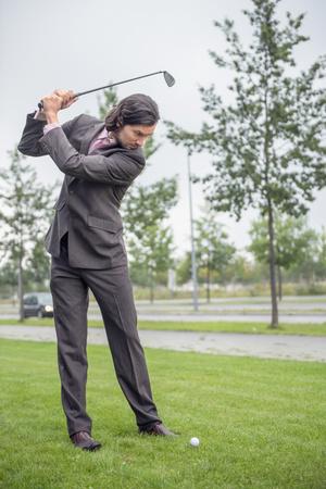 Business man goal golf club decision Determination