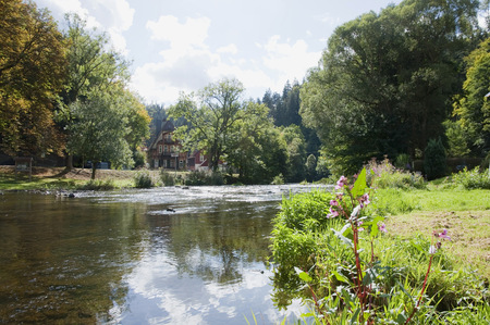 tranquillity: View of River Bode,Treseburg in background, Saxony Anhalt, Germany