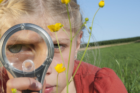 10 11 years: Girl (10-11) in meadow looking through magnifying glass, side view