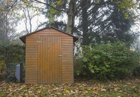 Garden shed wheelbarrow autumn wooden