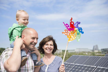 Parents baby solar panel windmill electricity