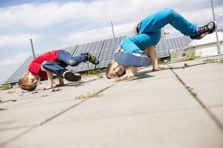 lust for life: Boys brothers break dancing solar park